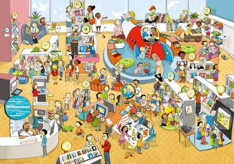 Wimmelbild - Illustration: Liliane Oser / Copyright: dbv